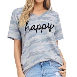 Tops - NEW Happy Graphic Camo V-Neck Top